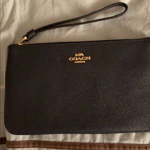 Midnight navy leather Coach clutch/wristlet